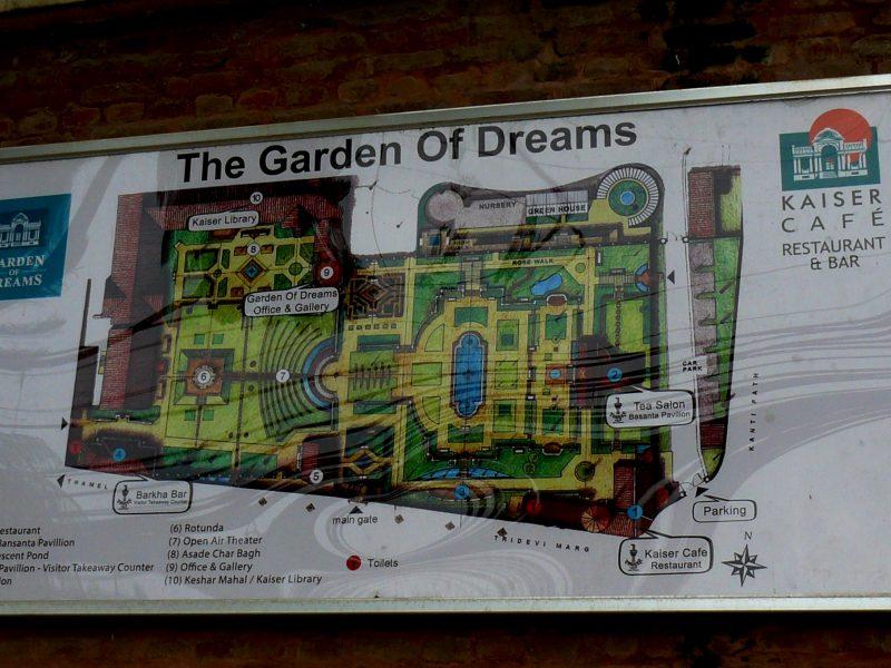 Mapa del Jardín de los sueños de Kathmandú
